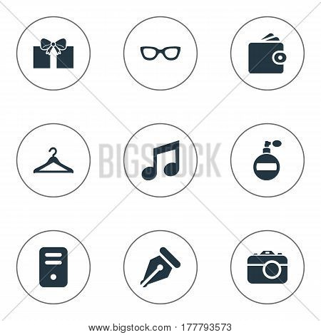 Vector Illustration Set Of Simple Instrument Icons. Elements Gift, Digital Camera, Fragrance And Other Synonyms Purse, Billfold And Computer.