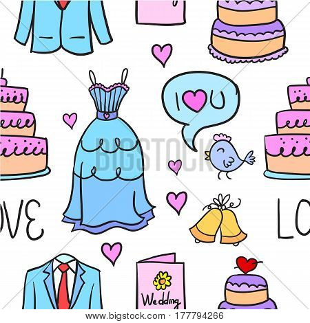 Doodle of wedding collection vector design illustration