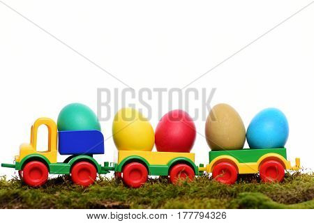 Painted Easter Colorful Eggs In Plastic Car Toy