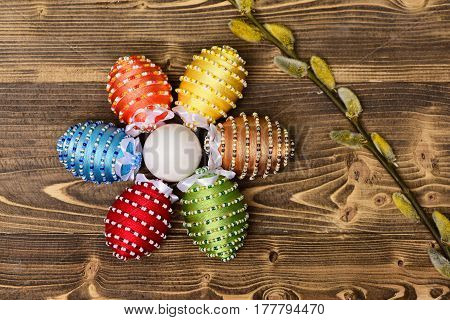 Easter Colorful Eggs Decorated With Thread, Beads With Willow, Osier