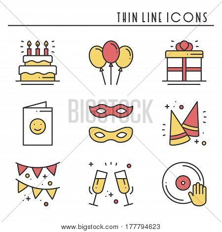 Party celebration thin line icons set. Birthday, holidays, event, carnival festive. Basic party elements icons collection. Vector simple linear design. Illustration. Symbols. Mask gifts cake