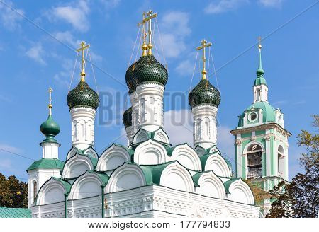 The cupolas of Chernigov Martyrs church in Moscow Russia