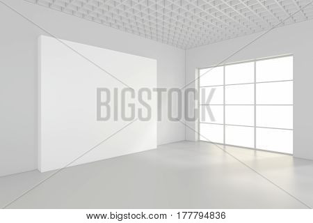 Empty blank billboard in white interior. 3d rendering.