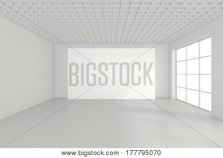 Horizontal blank billboard in white room. 3d rendering.