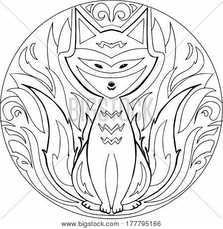 Decorative coloring mandala with firefox on a white background.