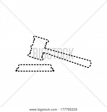 Justice hammer sign. Vector. Black dashed icon on white background. Isolated.