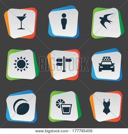 Vector Illustration Set Of Simple Beach Icons. Elements Crossroad, Beverage, Swallow And Other Synonyms Crossroad, Gentleman And Woman.