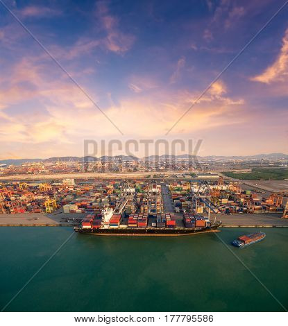 Large container shipping boat at shipping yard main transportation of cargo container shipping. Photo concept for Global business shippingLogisticImport and Export industry.