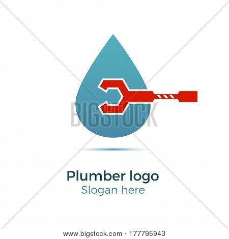 Plumbing company logo vector concept. Illustration for plumber's business. Simple and stylish logotype - water drop with wrench.