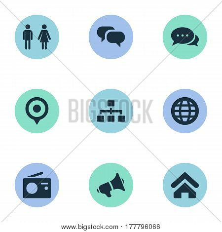 Vector Illustration Set Of Simple Transmission Icons. Elements Conversation, World, Talking And Other Synonyms Location, Woman And Pin.