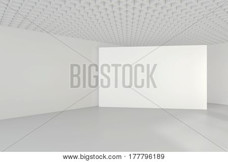White clean interior with blank billboard. 3d rendering.