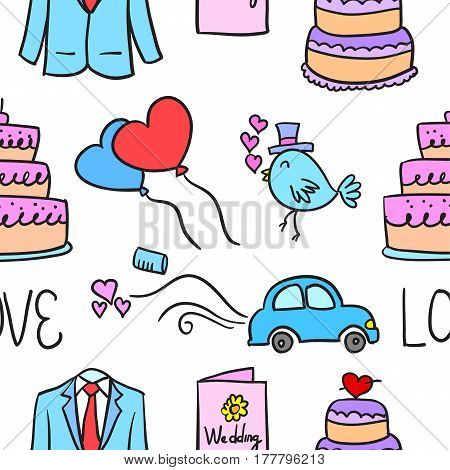 Wedding element doodle style collection vector illustration