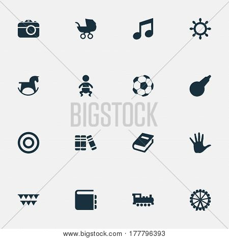 Vector Illustration Set Of Simple Baby Icons. Elements Soccer, Clyster, Festival And Other Synonyms Pram, Encyclopedia And Train.