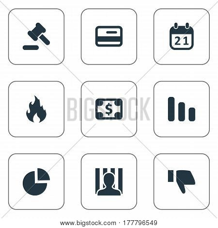 Vector Illustration Set Of Simple Situation Icons. Elements Penitentiary, Bankroll, Plastic Card And Other Synonyms Diagram, Blaze And Dollar.