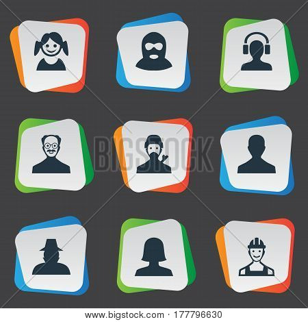 Vector Illustration Set Of Simple Human Icons. Elements Woman User, Whiskers Man, Felon And Other Synonyms Inspector, Avatar And Mysterious.