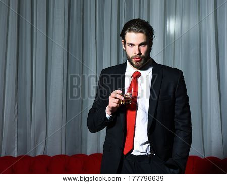 Bearded Man, Businessman With Glass Of Whiskey