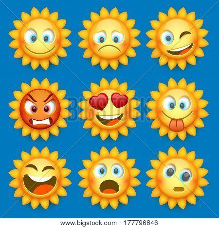 Emoji sun and sad icon set. Vector