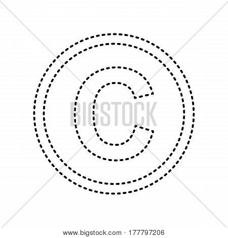 Copyright sign illustration. Vector. Black dashed icon on white background. Isolated.