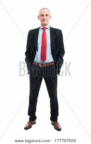 Full Body Of Business Man With Hands In Pockets