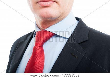 Close-up Of Senior Business Man Shirt And Tie