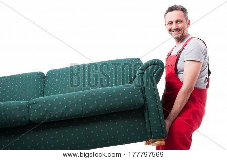 Mover Guy Lifting Up Couch While Moving