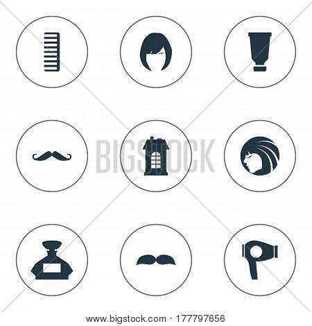 Vector Illustration Set Of Simple Beautician Icons. Elements Hair, Premises, Beard And Other Synonyms Machine, Scent And Lady.