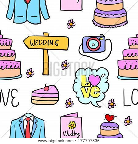 Vector illustration of weding element doodles collection