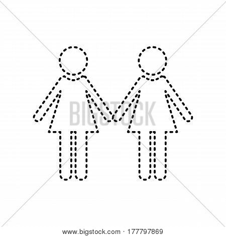 Lesbian family sign. Vector. Black dashed icon on white background. Isolated.
