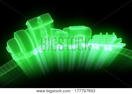 Toy Train in Hologram Wireframe Style. Nice 3D Rendering