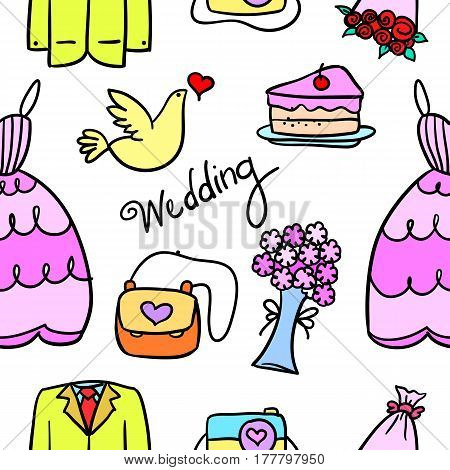 Doodle of wedding element colorful style vector flat