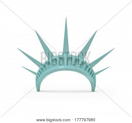Crown of Statue of Liberty, 3d rendered on white background