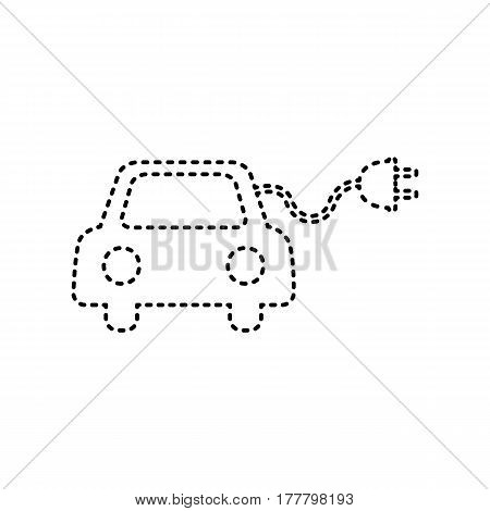 Eco electric car sign. Vector. Black dashed icon on white background. Isolated.