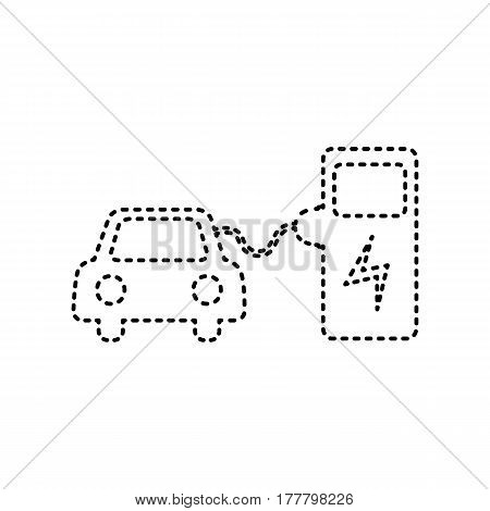 Electric car battery charging sign. Vector. Black dashed icon on white background. Isolated.