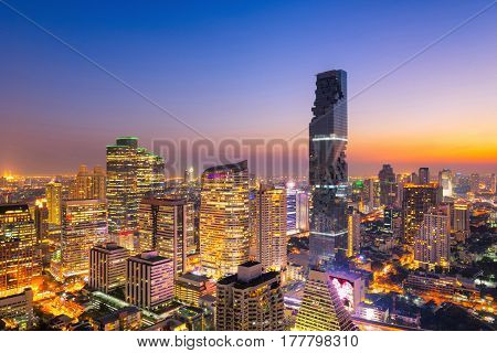 Cityscape view of Bangkok modern office business building in business zone at BangkokThailand. Bangkok is the capital of Thailand and Bangkok is also the most populated city in Thailand.