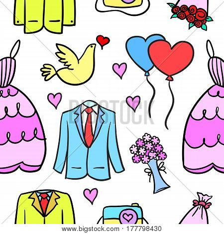 Collection stock of wedding style in doodles vector art