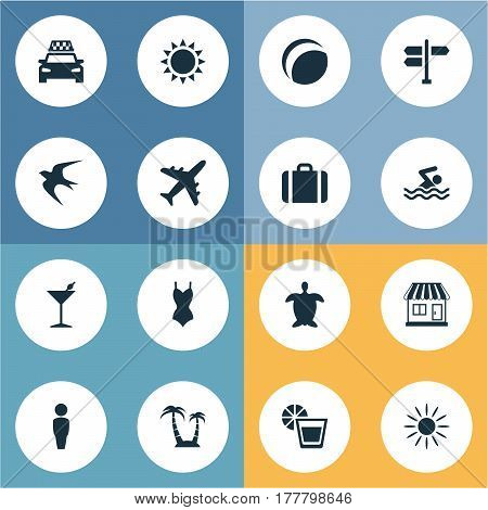 Vector Illustration Set Of Simple Beach Icons. Elements Swallow, Crossroad, Store And Other Synonyms Heat, Freedom And Sun.