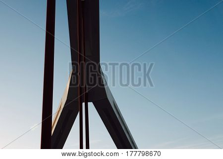 Angle, clear sky and forms of barqueta bridge