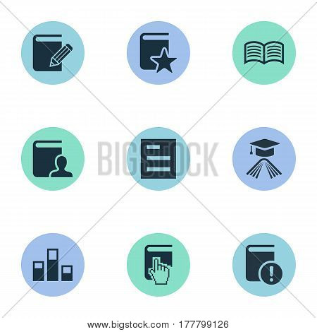 Vector Illustration Set Of Simple Knowledge Icons. Elements Studying, Online Education, Love Affair And Other Synonyms Contact, Text And Book.