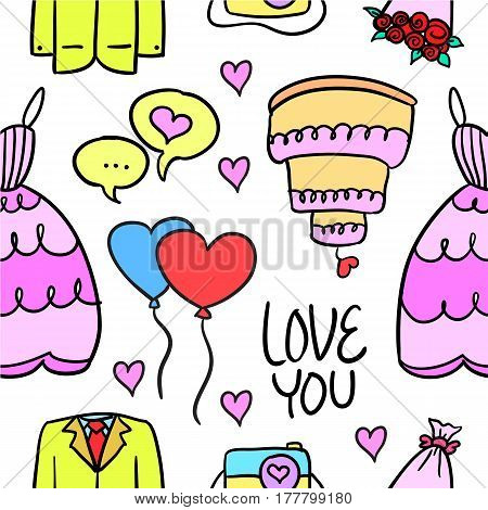 Vector illustration of wedding element style doodles collection