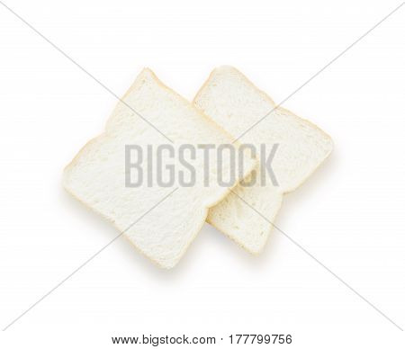 Closeup two slice bread for breakfast with shadow isolated on white background