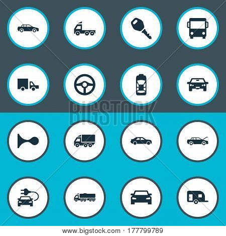 Vector Illustration Set Of Simple Car Icons. Elements Repair, Auto, Car Charging And Other Synonyms Mega, Cargo And Steering.