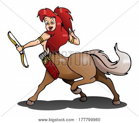 illustration of a female centaur archerer on isolated white background
