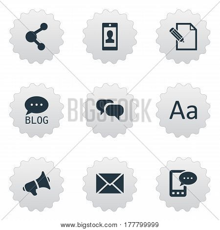 Vector Illustration Set Of Simple User Icons. Elements Gossip, Post, E-Letter And Other Synonyms Megaphone, Epistle And Alphabet.