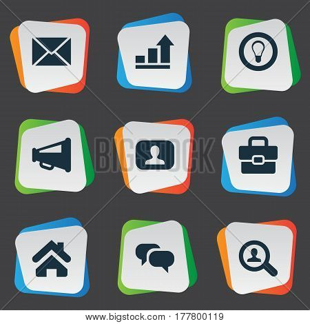 Vector Illustration Set Of Simple Business Icons. Elements Representative, Bulb, Progress And Other Synonyms Mind, Progress And Real.