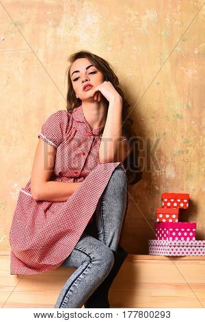 Pretty Sexy Woman With Colorful Present Boxes In Checkered Dress