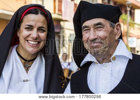 SELARGIUS, ITALY - September 11, 2016: Old wedding Selargino - portrait of a couple in traditional Sardinian costume - Sardinia