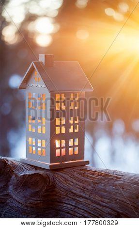 White house lantern in sunset