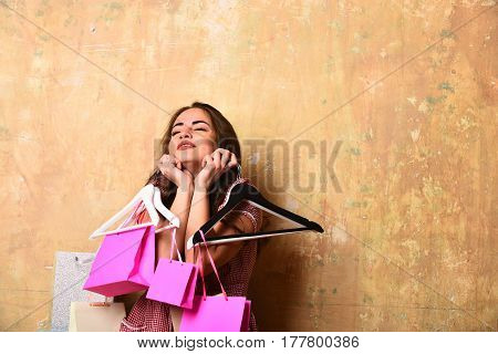 Pretty Sexy Happy Surprised Woman With Shopping Bags And Hangers