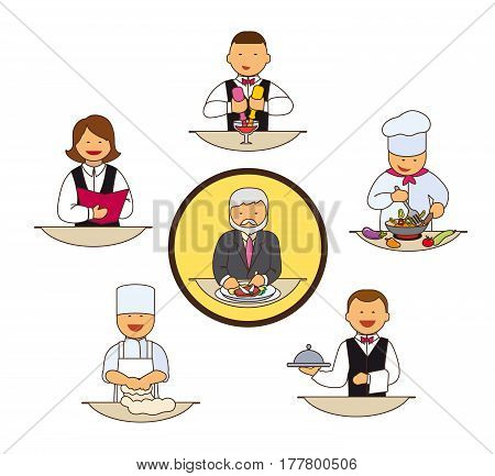 Catering staff. Restaurant team. Colored icons on white background