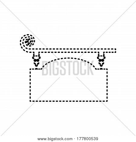 Wrought iron sign for old-fashioned design. Vector. Black dashed icon on white background. Isolated.